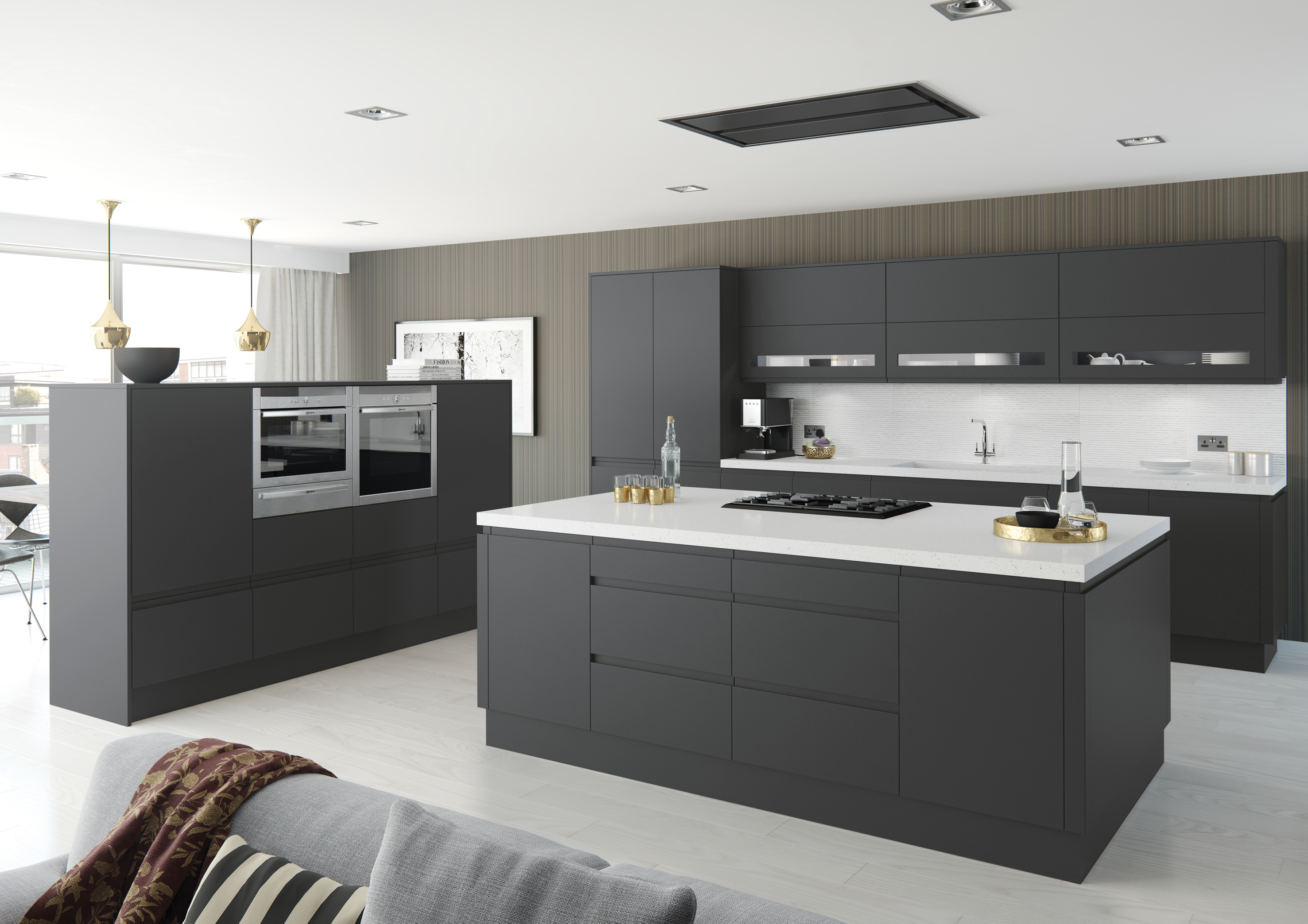 Budget Friendly Ways To Improve Your Kitchen - Dark grey kitchen doors