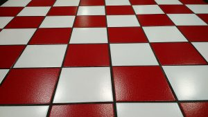 Checkered kitchen floor tiles