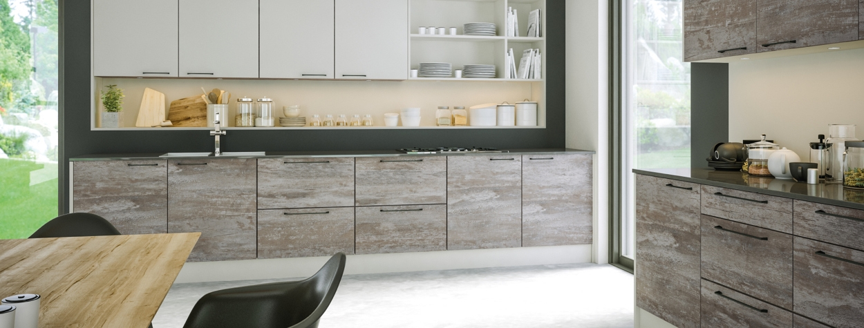 Zurfiz light grey driftwood kitchen doors
