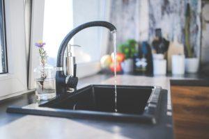 Sink against kitchen window