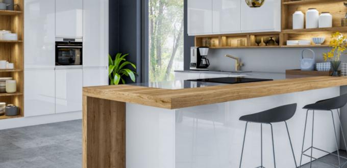 J-Profile gloss white kitchen cupboard doors