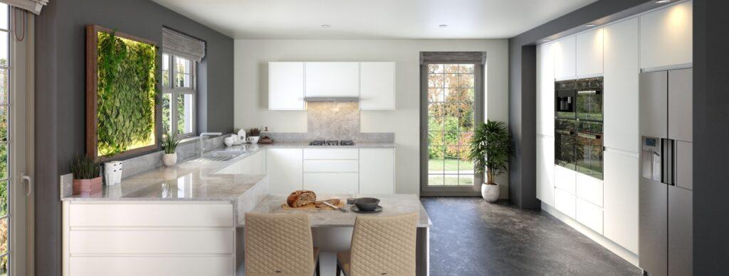 J-profile matt white kitchen cupboard doors