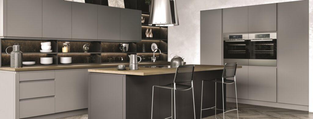 Luc handless kitchen cupboard doors in matt dust grey