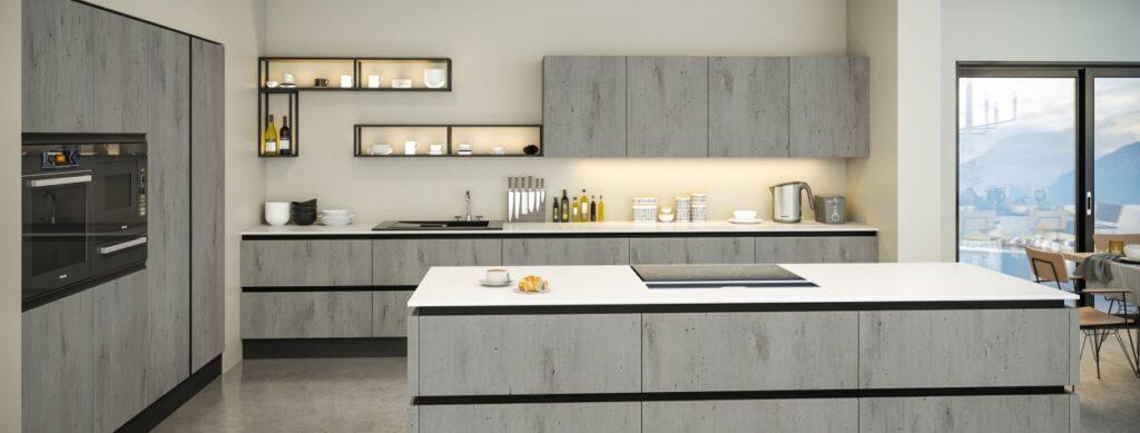 Textured kitchen cupboard doors - concrete