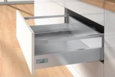 Atira Silver Soft Close Push To Open Drawerbox Pan Drawer 144mm h x 900mm w