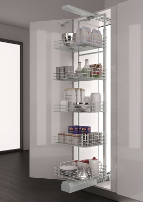 600mm Dynamic Tall Larder - Chrome Baskets