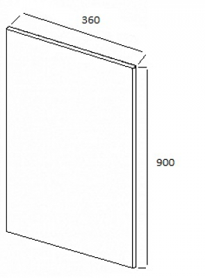 Ludlow Gloss Cream Wall End Panel 900mm h x 360mm w x 19mm th