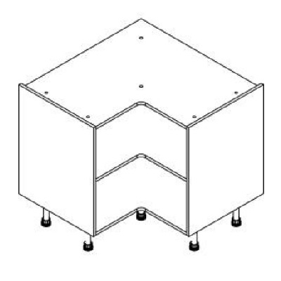 White Clicbox Corner 928mm Base Unit