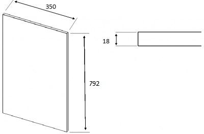 Matt Dakkar Elland Square End Panel (792mm W x 350mm H x 18mm)