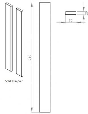 Cambridge Oak Real Wood 715mm h x 70mm w Corner Post (Pair)