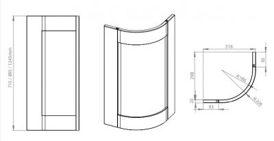 Cambridge Light Grey 715mm Curved Door
