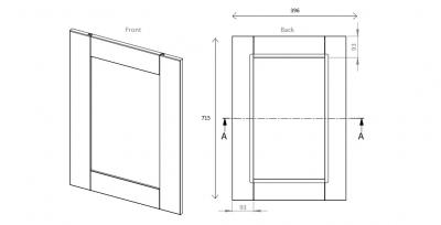 Cambridge Dust Grey 715mm h x 396mm w Frame Door