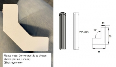 J-Profile Gloss White Internal Corner Post 715mm