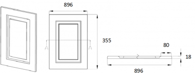 Denton Ivory 355mm h x  896mm w