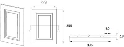 Denton Ivory 355mm h x 996mm w