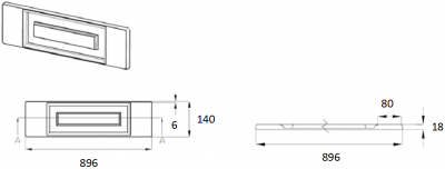 Denton Ivory 140mm h x 896mm w