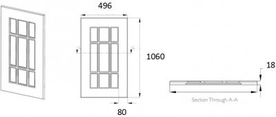 Denton Ivory Frame 1060mm h x 496mm w