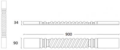 Denton Ivory Twist Pilaster