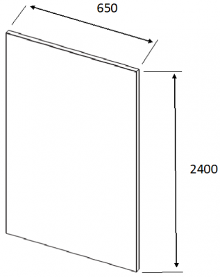 J-Profile Matt Cashmere Square End Panel 2400mm h x 650mm w