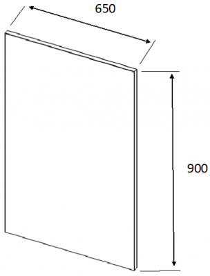 J-Profile Matt Cashmere Square End Panel 900mm h x 650mm w