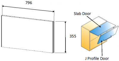 Moda Platinum 355h x 796mm w (slab door for bi-fold)