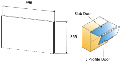 Moda Platinum 355h x 996mm w (slab door for bi-fold)
