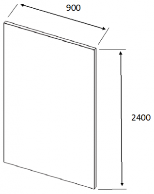 Luc Gloss Dust Grey Tall End Panel Slab 2400h x 900w x18mm th