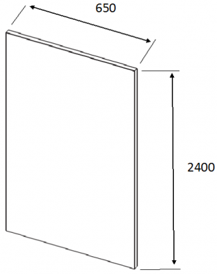 Luc Gloss Dust Grey Tall End Panel Slab 2400h x 650w x 22mm th