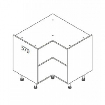 White Not Clicbox 900 x 900 Base Unit Corner (not clicbox)