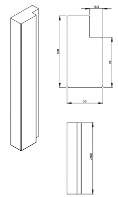 Oxford Shaker White 2400mm h x 100mm w x 50mm Straight End Panel