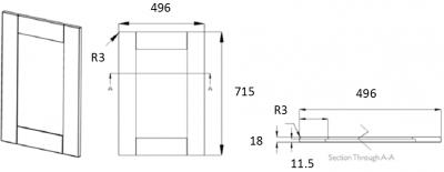 Portland Ivory Frame 715mm h x 496mm w