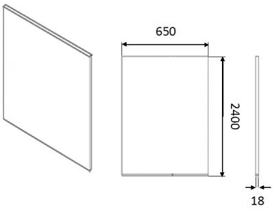 Moda White Tall End Panel Slab 2400h x 650w x 18mm th