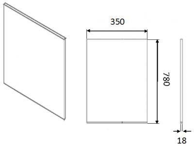 Moda White Wall End Panel Slab 780h x 350w x 18mm th