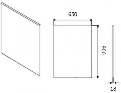 Moda White Base End Panel Slab 900h x 650w x 18mm th