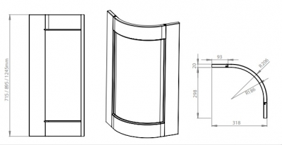 Windsor Oak 895mm tall external curved door