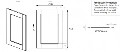 Windsor Oak 715mm h x 396mm w frame door