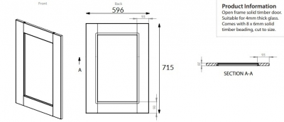 Windsor Oak 715mm h x 596mm w frame door
