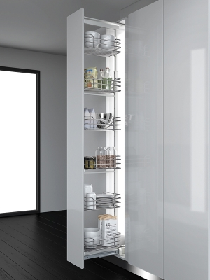 400mm Dynamic Tall Larder - Metallic Grey Baskets