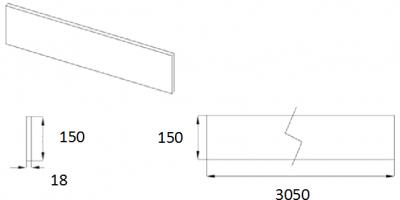 J-Profile Gloss White Plinth 150mm H x 3M L